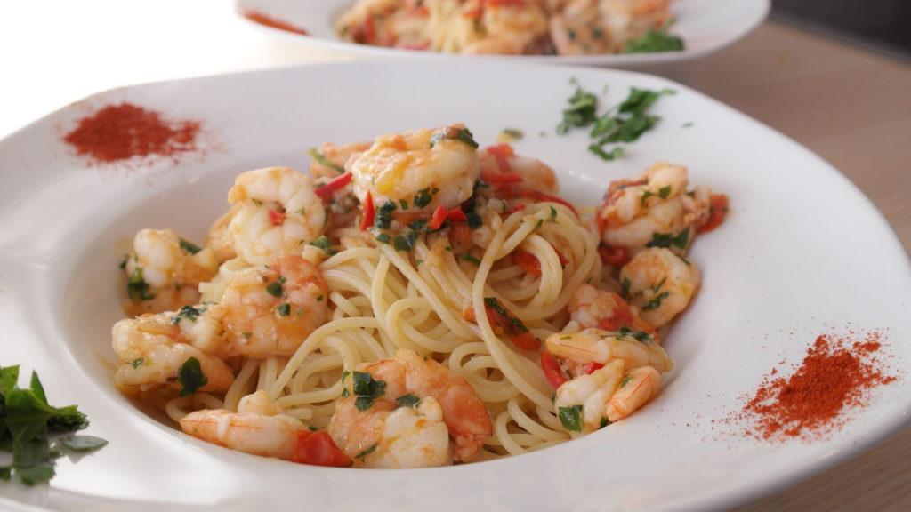 plats italiens, pates à la crevette